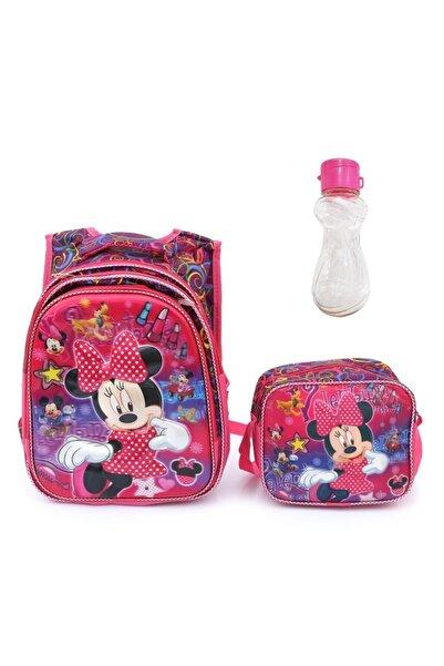 Mashotrend Işıklı Rujlu Minnie Mouse Baskılı Çanta Beslenme Suluk Okul Çantası Mini Fare Çanta