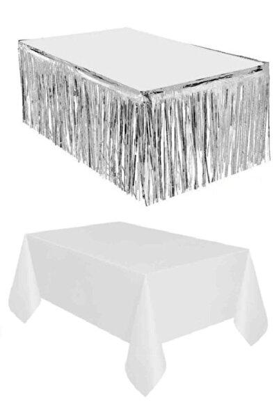 Dipak Gümüş Metalize Masa Eteği 90×350 Cm Plastik Beyaz Masa Örtüsü 120×180 Cm