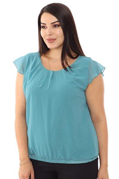 Selent Kadın Su Yeşili Kısa Kollu Şifon Büyük Beden Bluz