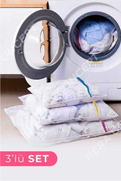 HERA CONCEPT 3 Adet Çamaşır Yıkama Filesi Renkli Fermuarlı