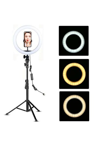 Sarftech Ring Fill Light Led Işıklı Tripod 10 Inç Halka Youtuber Tiktok Makyaj Işığı Ayaklı Tripot