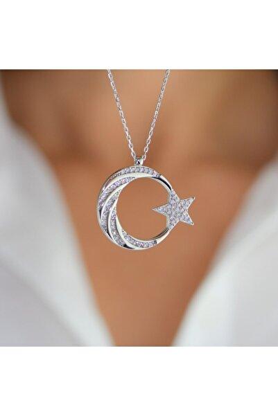 mygümüş Burgu Taş Işlemeli Ay Yıldız Gümüş Kolye