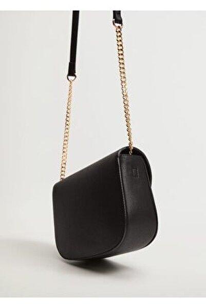 Kadın Siyah Kapaklı Pürtüklü Çanta