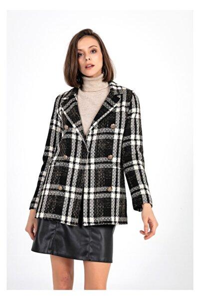 TIFFANY&TOMATO Düğme Detay Ekose Blazer Ceket-siyah