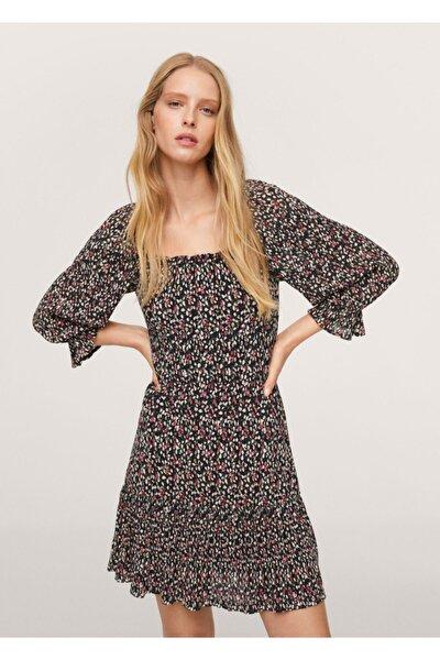 MANGO Woman Kadın Siyah Çiçekli Elbise