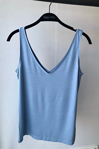 BASIC&CO Alexa Açık Mavi V Yaka Viskon Basic Atlet T-shirt