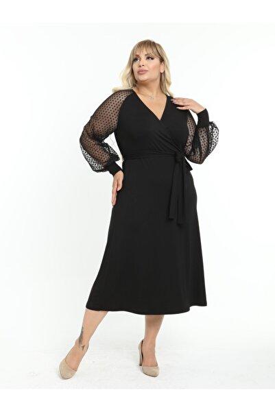 LİKRA Kadın Siyah Büyük Beden Puantiye Tül Detay Kruvaze Yaka Lı Viskon Abiye Elbise