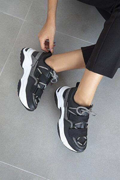 STRASWANS Berta Kadın Bant Detay Spor Ayakkabı Siyah-beyaz