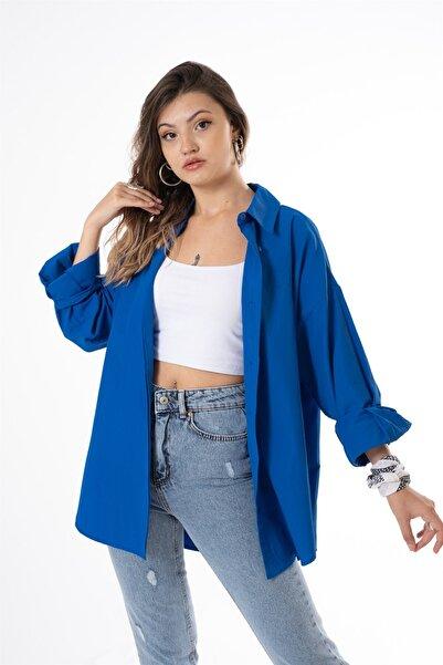 snc Kadın Uzun Kol Gömlek 0854qu21y Saks Mavisi