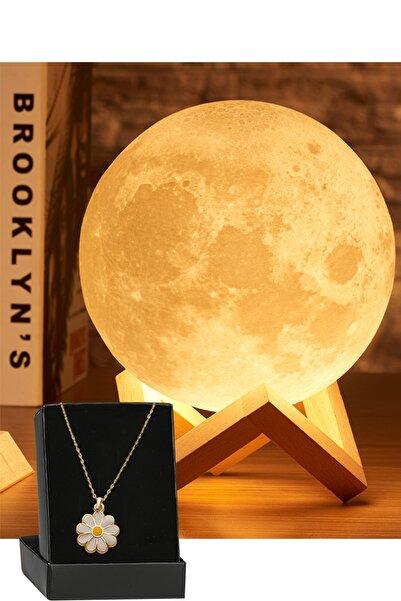 REWEL 3D Standlı Büyük Boy Ay Gece Lambası Hediyelik Küre Led Başucu Lambası Ve Papatya Kolye