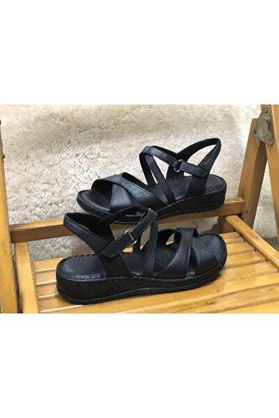 Beta Hakiki Deri Tam Ortopedik Kadın Cırtlı Sandalet