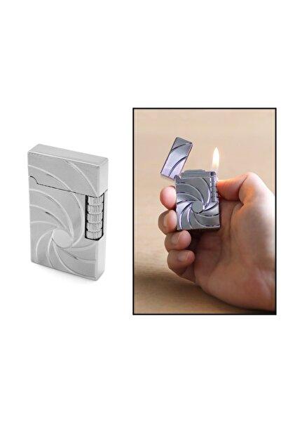 Tesbihane Kişiye Özel Isim Yazılı Zippo Tasarım Helezon Desenli Gümüş Renk Taşlı Çakmak