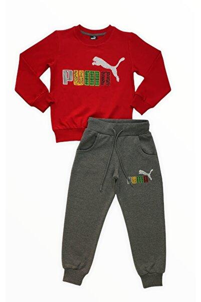 Puma Erkek Çocuk Kırmızı Eşofman Takımı