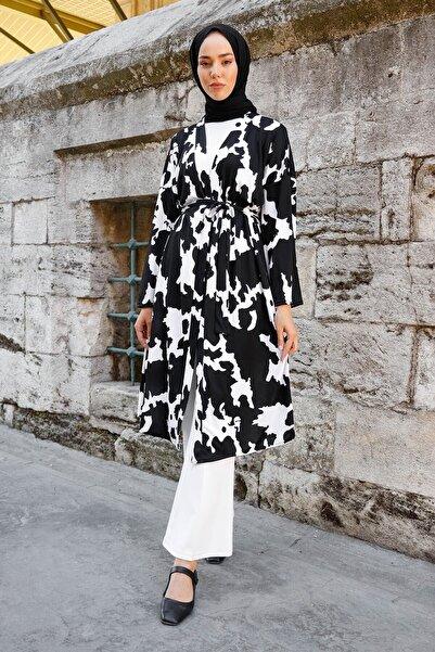 InStyle Parça Desen Baskılı Kemerli Kimono - Siyah