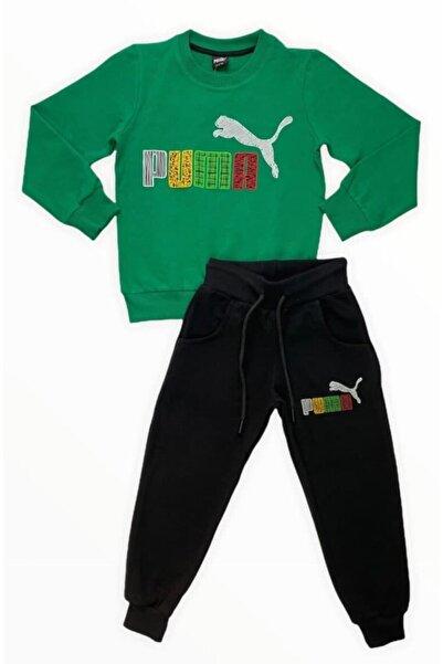 Puma Erkek Çocuk Yeşil Eşofman Takımı