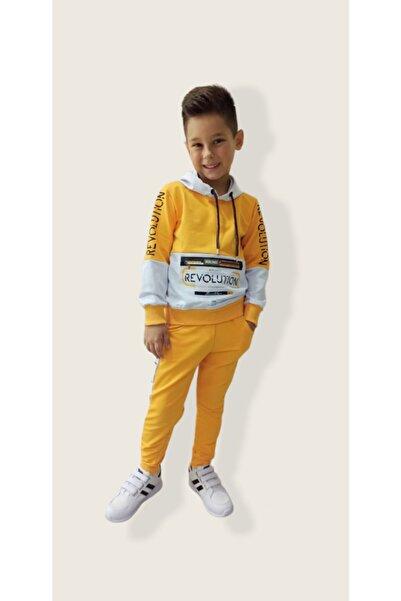 shopshop Şık Model Sarı Beyaz Renk Kapüşonlu Erkek Çocuk Eşofman Takımı