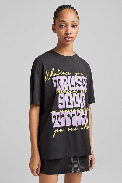 Bershka Desenli Kısa Kollu T-shirt
