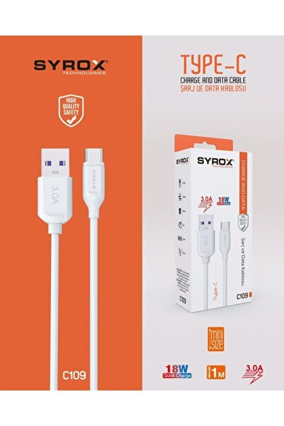 Syrox C109 Type-c Girişli 18w 3.0a Hızlı Şarj Ve Data Kablosu