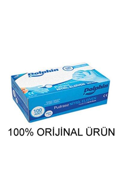 Dolphin Mavi Nitril Eldiven Pudrasız (M) 100lü Paket