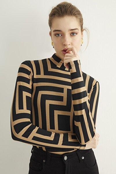 Bipantolon Kadın Camel-siyah Labirent Desenli Bluz