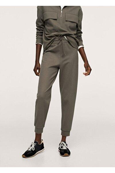 MANGO Woman Kadın Haki Renk Jogger Tarz Pamuklu Pantolon