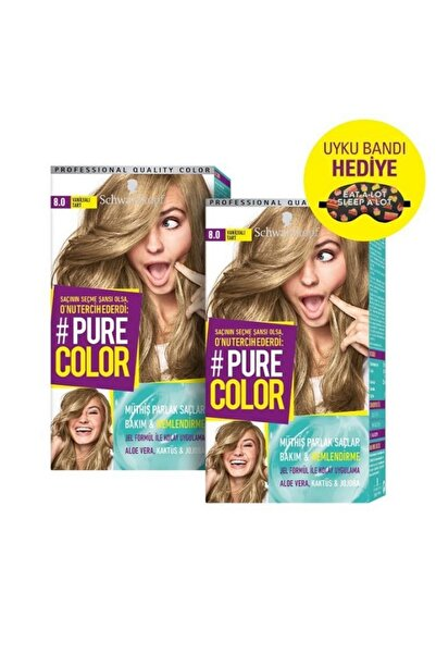 PURE COLOR Saç Boyası 8-0 Vanilyalı Tart X 2 Adet + Uyku Bandı