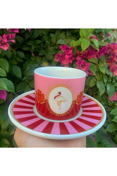 Merlins Concept Kırmızı Pembe Flamingo Desenli Çizgili Porselen Çay/kahve Fincanı
