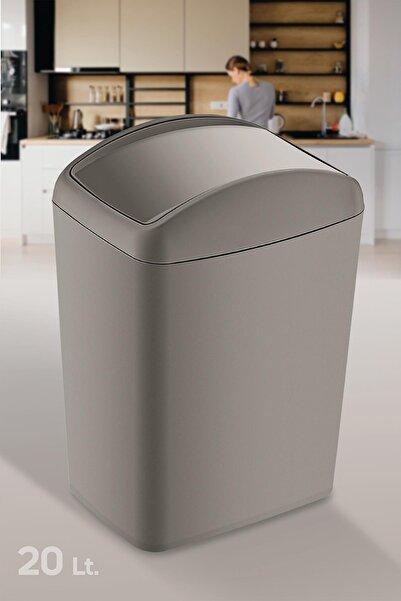Doreline Soft Plastik Çöp Kovası 20 Lt. Bej, Döner Kapak Çöp Kovası