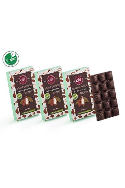 Elit Çikolata Vegan, Şeker Ilavesiz, Prebiyotik Glutensiz Bitter Çikolata 60g 3'lü Set (3X60G) Glutensiz