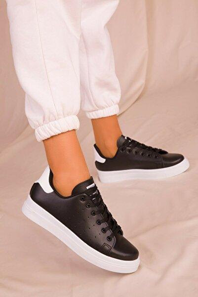 NOVİNS Kadın Siyah Beyaz Hafif Taban Sneaker