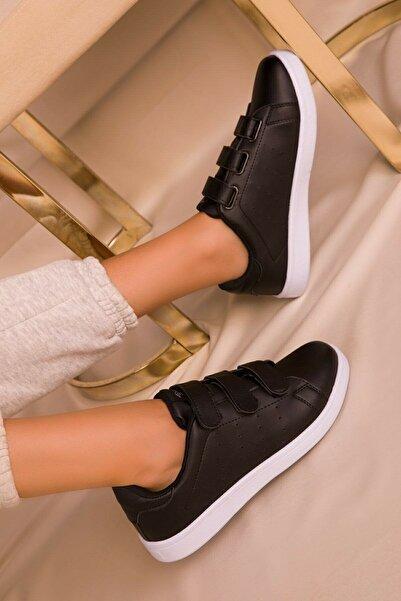 NOVİNS Kadın Siyah Beyaz Cırt Cırtlı Sneaker