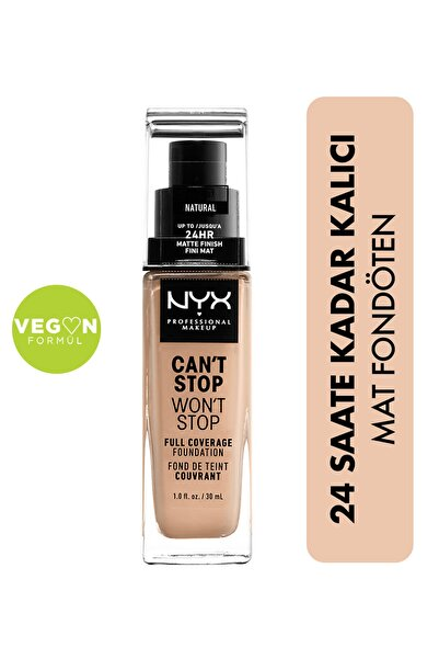 NYX Professional Makeup Fondöten - Can't Stop Won't Stop Full Coverage Foundation 07 Natural 30 ml 800897157234