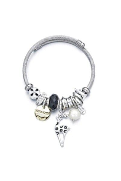 Uzel Geyik Charmlı Gümüş Pandora Tarzı Şık Bileklik Siyah