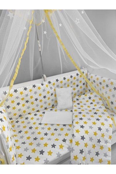 serkan avm Sarı Yıldızlı Bebek Beşik Uyku Seti 60x120 %100 Pamuk 9 Parça Cibinlik Ve Aparat Hediye