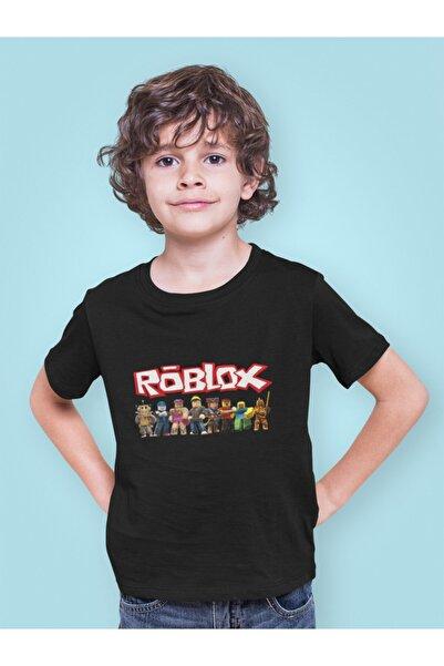 Kio Tişört Oyun Roblox Tüm Karakterler Baskılı Çocuk Tişört Siyah %100 Pamuk Unisex