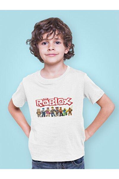 Kio Tişört Oyun Roblox Tüm Karakterler Baskılı Çocuk Tişört Beyaz %100 Pamuk Unisex