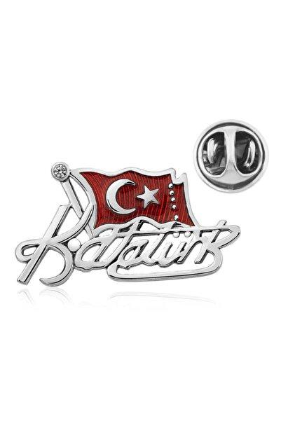 Tevuli Gümüş Türk Bayrağı Kemal Atatürk Imzalı Rozet