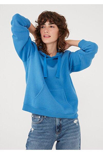 Mavi Kapüşonlu Sweatshirt 167299-32333