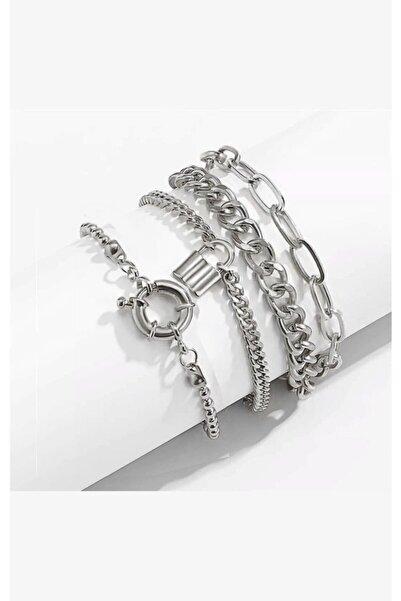 X-Lady Accessories Boho Kalın Gümüş Renk Kombin Bileklik