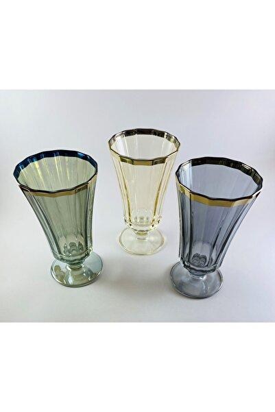 Paşabahçe West Glass Gold Kaplama 6'lı Diamond Kahve Yanı Su Bardağı Likör Bardağı Karışık Renkler