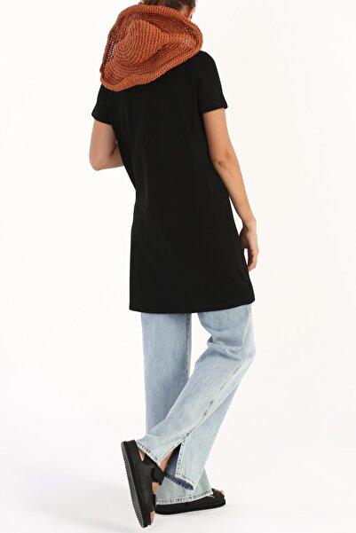 ALLDAY Siyah Basic Pamuklu Kısa Kollu T-shirt Tunik