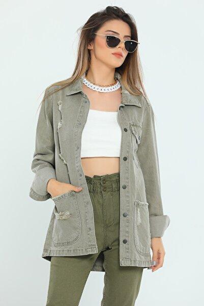 julude Lazer Yırtklı Sevgili Kombin Kadın Kot Ceket
