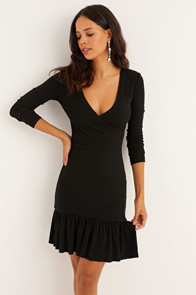 Cool & Sexy Kadın Siyah Kruvaze Volanlı Kaşkorse Mini Elbise EY1306