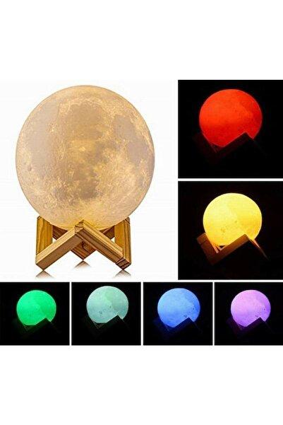 Vk&Vk 3d Ahşap Standlı 5 Renk Değiştiren Büyük Boy Ay Gece Lambası Küre Led Başucu Lambası Ahşap Ayaklı