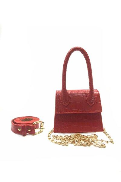 VİZVİZZ Kadın Kırmızı Mini Zincirli Kemerli Çanta
