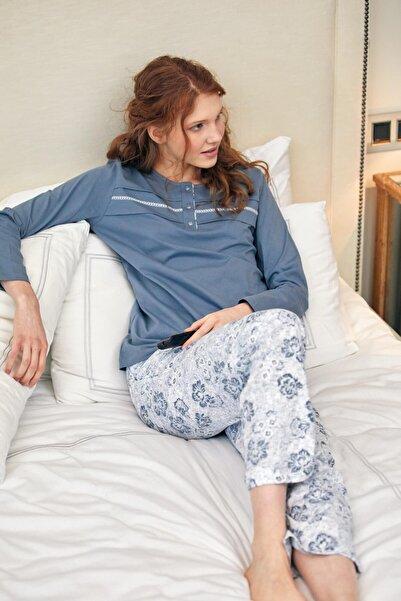 Sementa Çiçek Desen Düğmeli Pijama Takımı - Gri