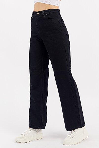 Manche Siyah Geniş Paça Wideleg Jean Kadın Pantolon