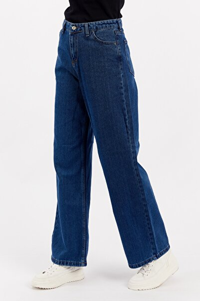 Manche Mavi Geniş Paça Wideleg Jean Kadın Pantolon