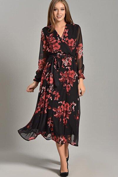Elbise Delisi Nar Çiçeği Kruvaze Yaka Siyah Şifon Elbise