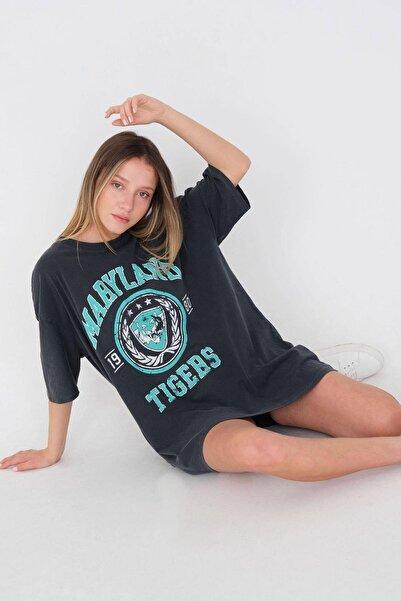 Addax Baskılı Oversize T-shirt P9546 - B10